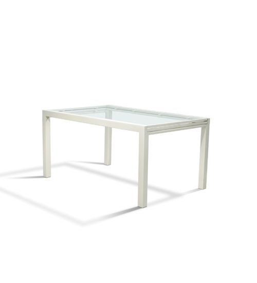 [Extends 120u2033 Length] Shown In Gloss White Finish Also Available With Black  Glass: 2548 Parsons Extension Table U2013 Black Glass Top