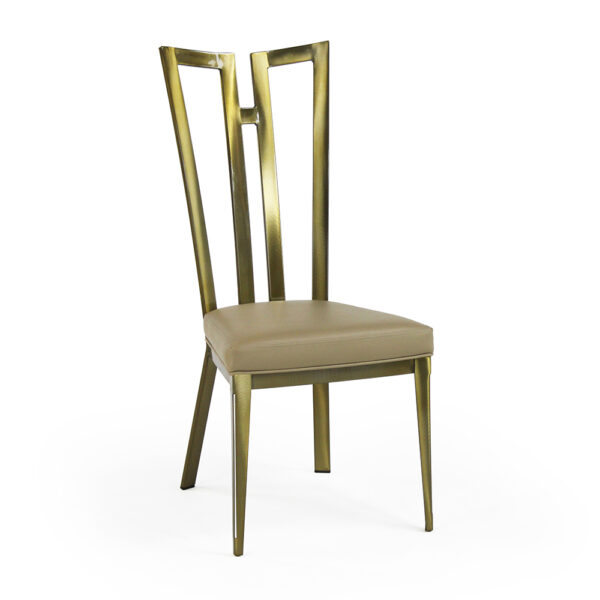 9611 Rayne Chair Polished Brass Chocolate Symphony