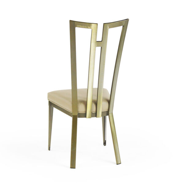 9611 Rayne Chair Polished Brass Chocolate Symphony Back View