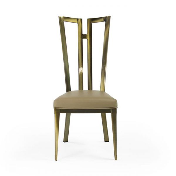 9611 Rayne Chair Polished Brass Chocolate Symphony Front