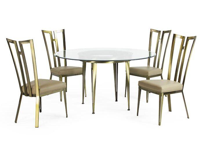 9611_9633B Rayne Dining Set Polished Brass GL54 Chocolate Symphony